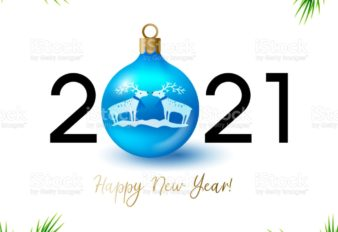 New year symbol vector illustration. Happy new year. 2021. Happy new year 2021 creative greeting card design with Christmas ball